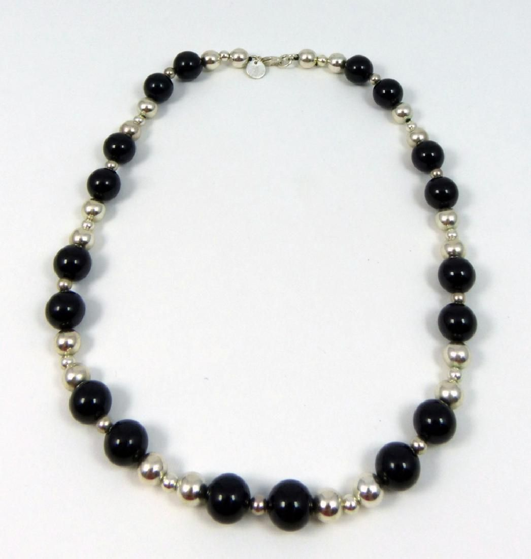 VINTAGE TIFFANY & CO ONYX STERLING BEADED NECKLACE