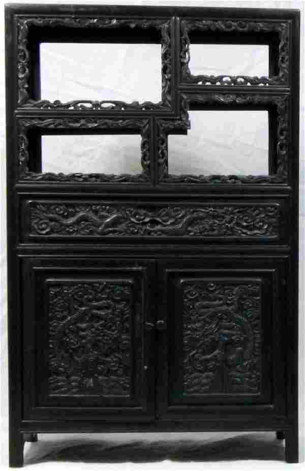 CHINESE CARVED & EBONIZED DRAGON DISPLAY CABINET
