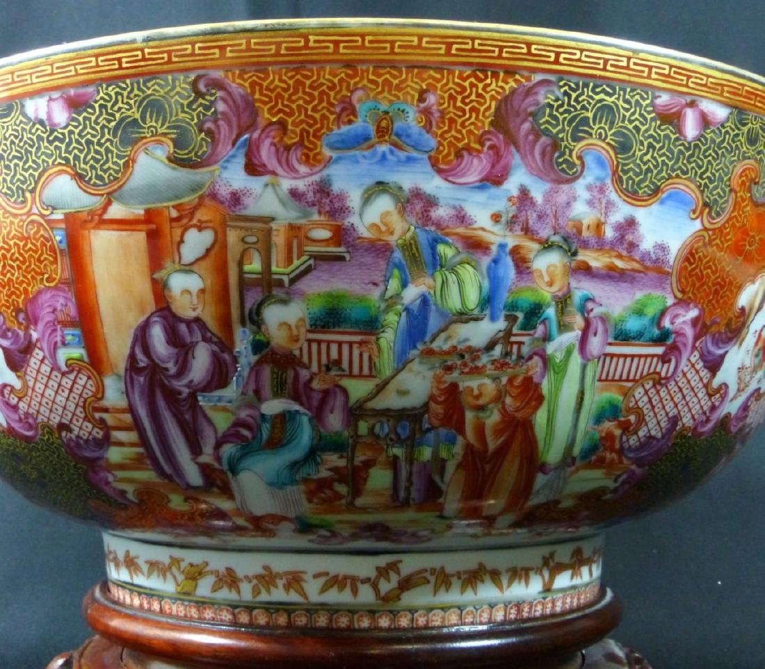 18th C CHINESE LARGE FAMILLE ROSE BOWL - 7