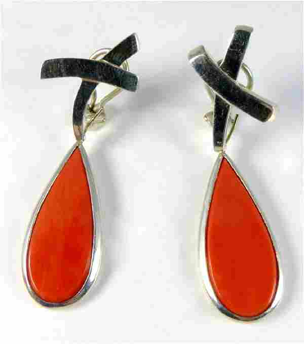 PR TIFFANY PALOMA PICASSO STERLING CORAL EARRINGS