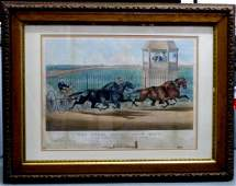 CURRIER  IVES LITHOGRAPH GREAT DOUBLE TEAM TROT
