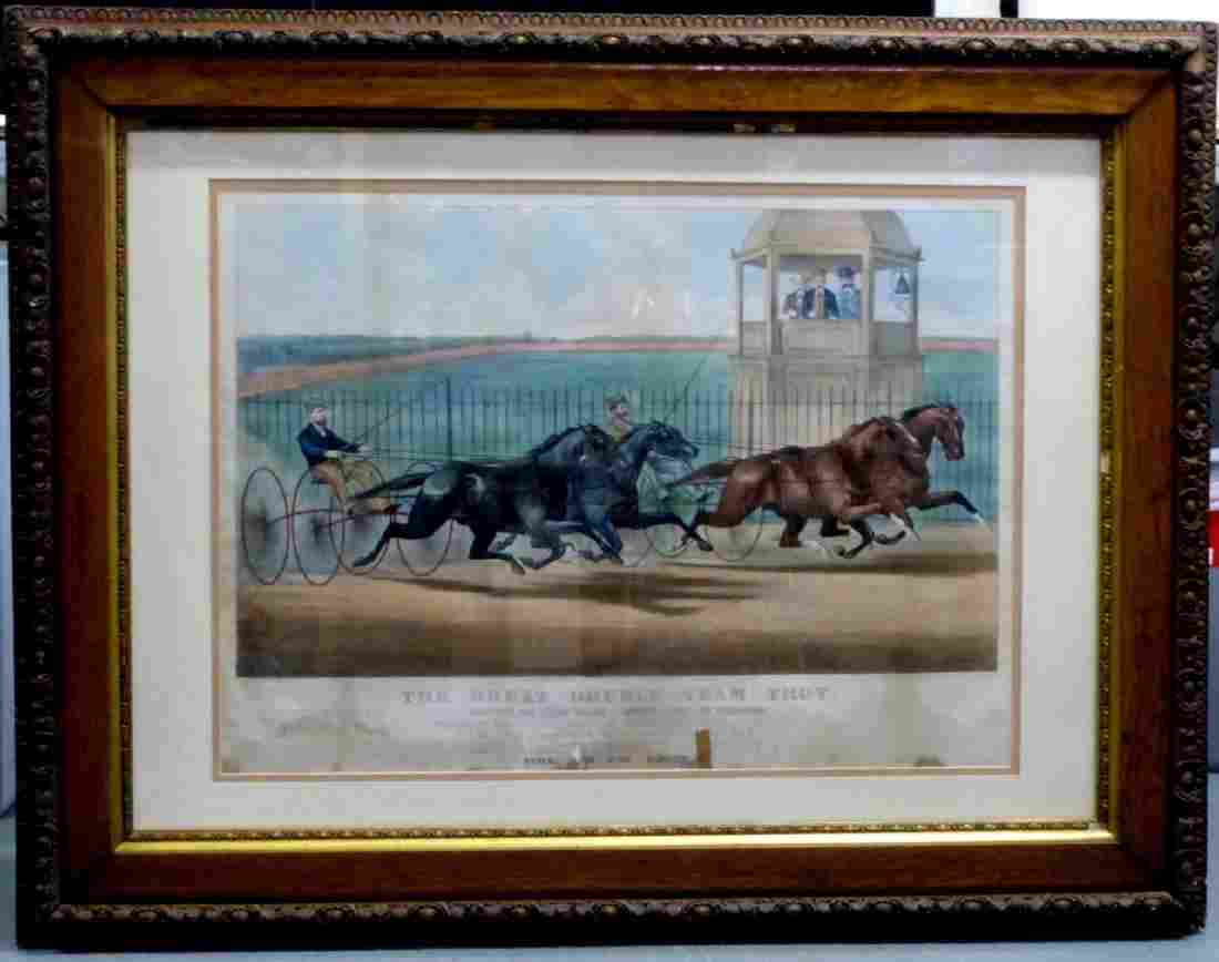 CURRIER & IVES LITHOGRAPH 'GREAT DOUBLE TEAM TROT'