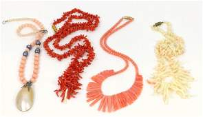 4pc BEADED CORAL NECKLACES
