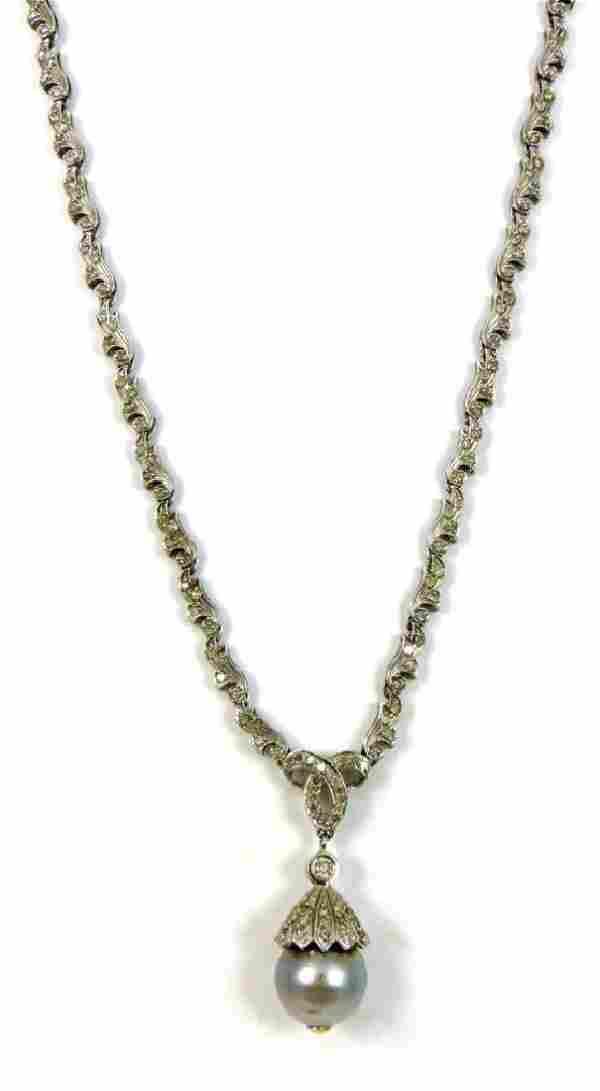 14kt WHITE GOLD DIAMOND & SOUTH SEA PEARL LAVALIER