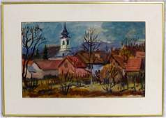 ROLF SCHEY PAINTING ON PAPER LANDSCAPE