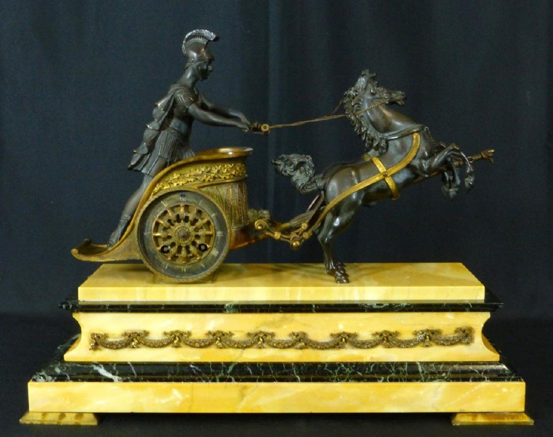 19th C FRENCH BRONZE & MARBLE CHARIOT MANTEL CLOCK