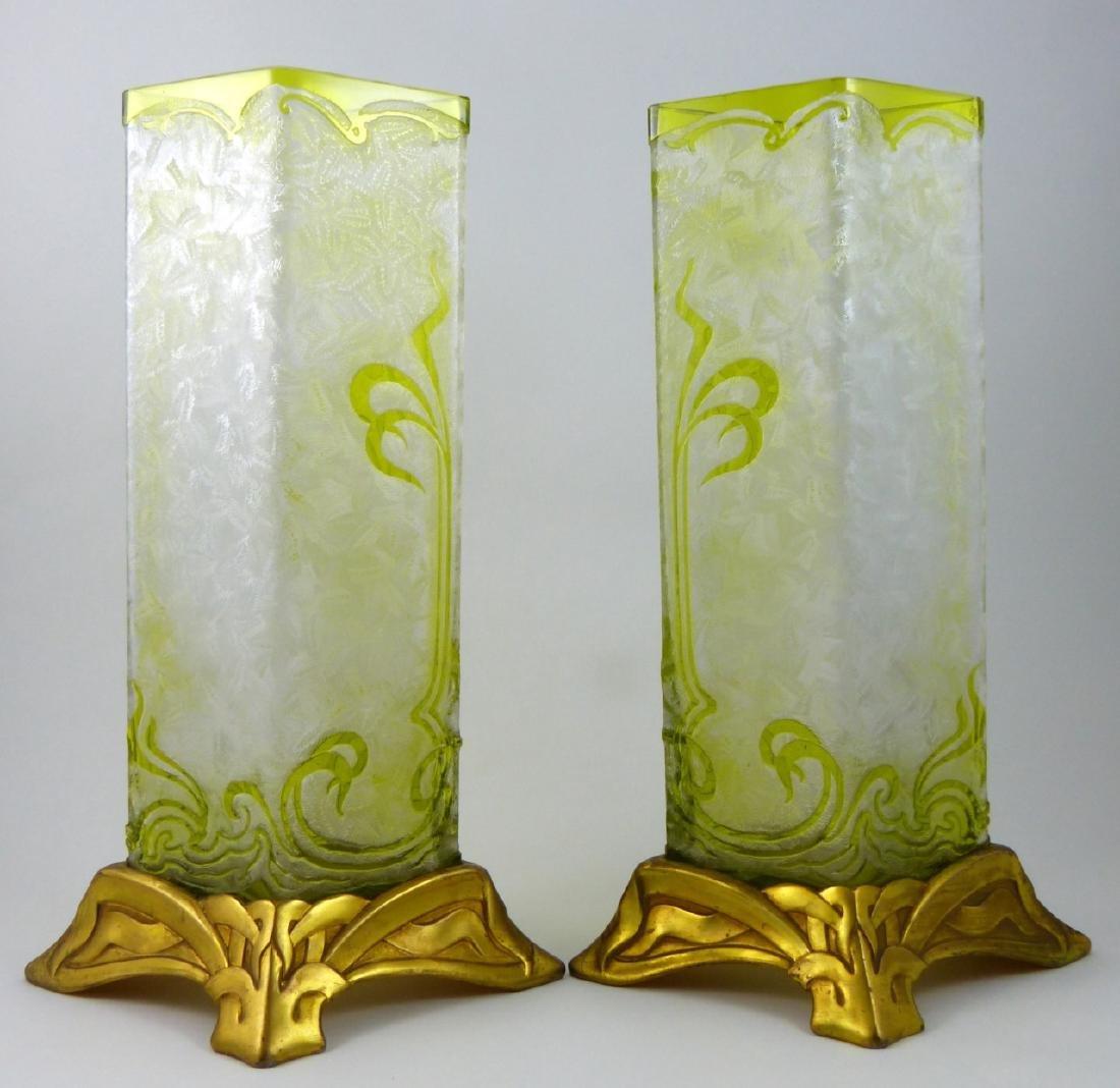 PR BACCARAT ACID ETCHED GLASS ORMOLU MOUNTED VASES - 3