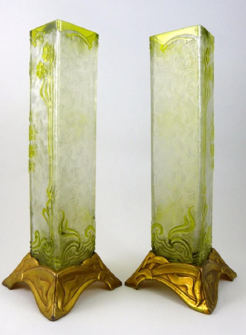 PR BACCARAT ACID ETCHED GLASS ORMOLU MOUNTED VASES - 4