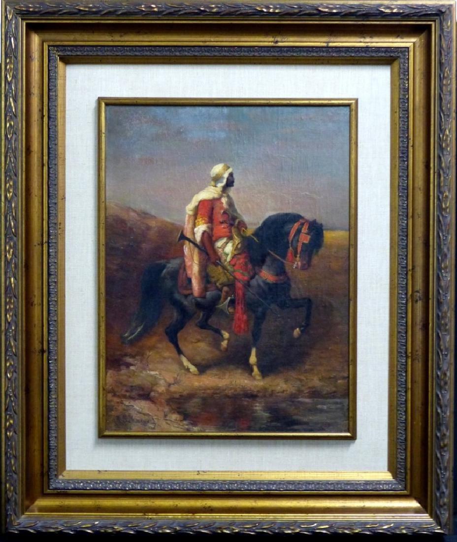 ADOLF SHREYER OIL PAINTING OF ARAB ON HORSEBACK