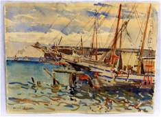 JULIUS DELBOS WATERCOLOR OF HARBOR SCENE