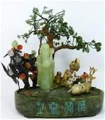 CHINESE JADE QUARTZ & AGATE FIGURAL SCENE w TREES
