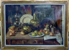 LARGE OIL PAINTING ON CANVAS STILL LIFE SIGNED