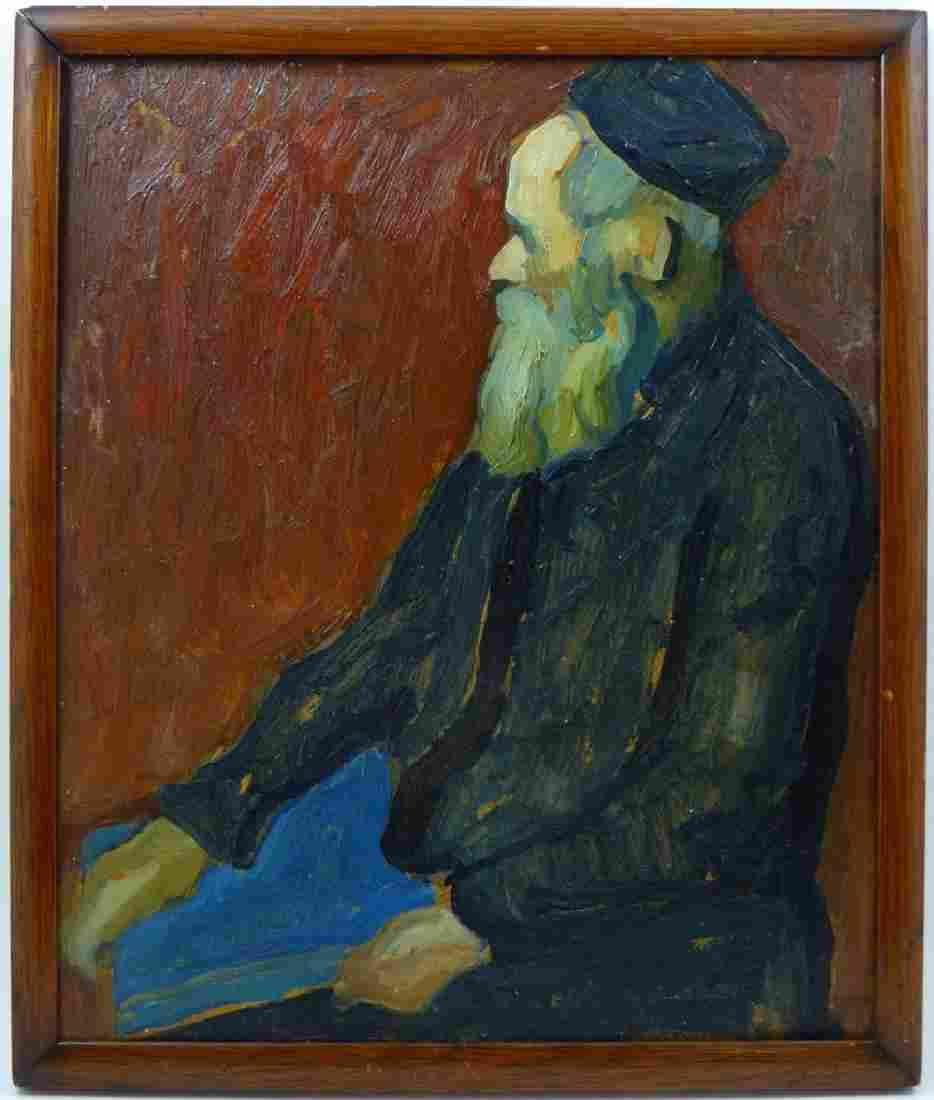 WILLIAM AUERBACK-LEVY OIL PAINTING ON BOARD RABBI