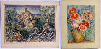 2pc PAUL ROHLAND HAND COLORED PRINTS