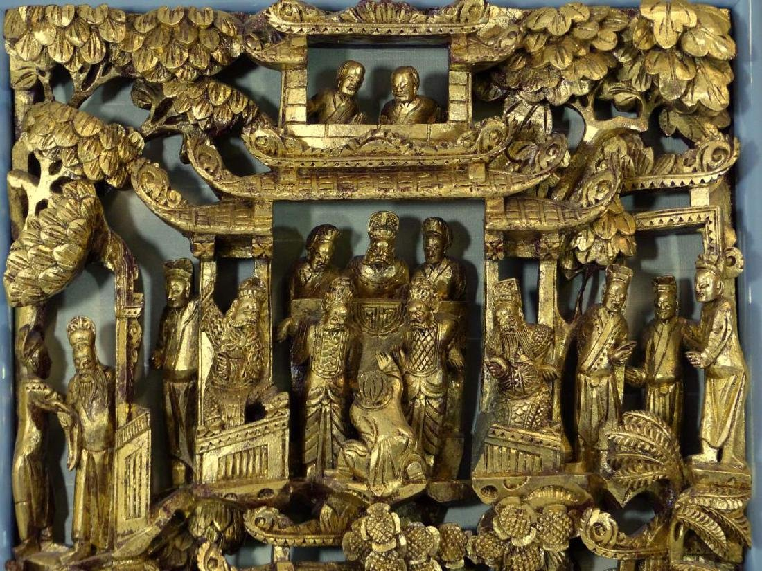 CHINESE CARVED GILT WOOD PANEL - 3