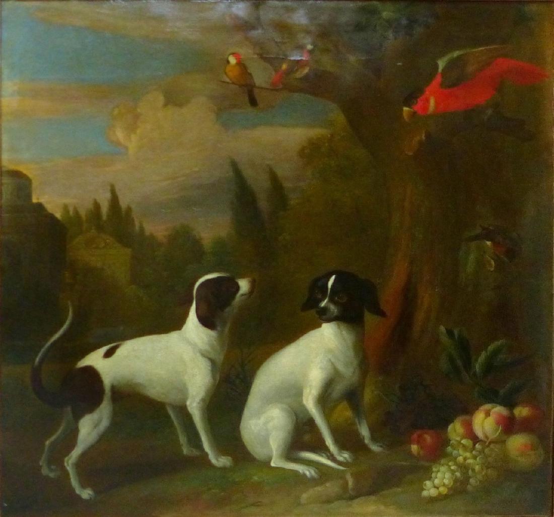JACOB BOGDANI OIL PAINTING ON CANVAS BIRDS & DOGS