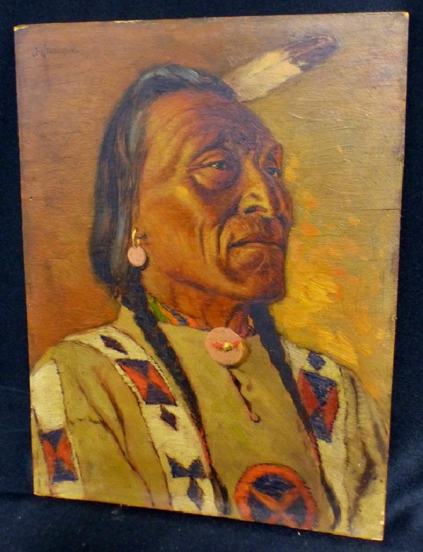 JAMES HENDERSON OIL PAINTING ON BOARD INDIAN CHIEF
