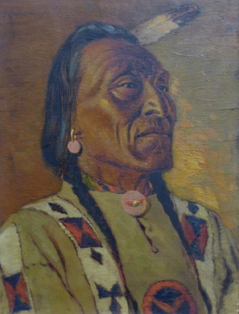 JAMES HENDERSON OIL PAINTING ON BOARD INDIAN CHIEF - 3
