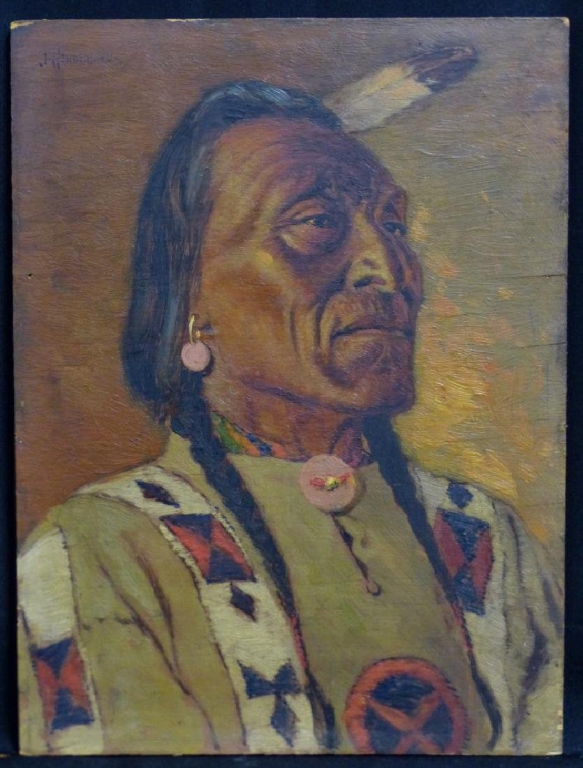 JAMES HENDERSON OIL PAINTING ON BOARD INDIAN CHIEF - 4