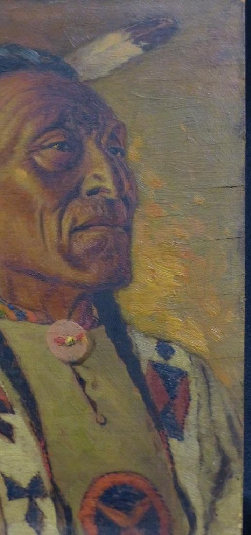 JAMES HENDERSON OIL PAINTING ON BOARD INDIAN CHIEF - 5