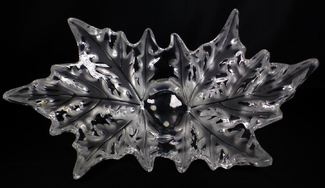 LALIQUE CHAMPS-ELYSEES FROSTED CRYSTAL LEAF BOWL