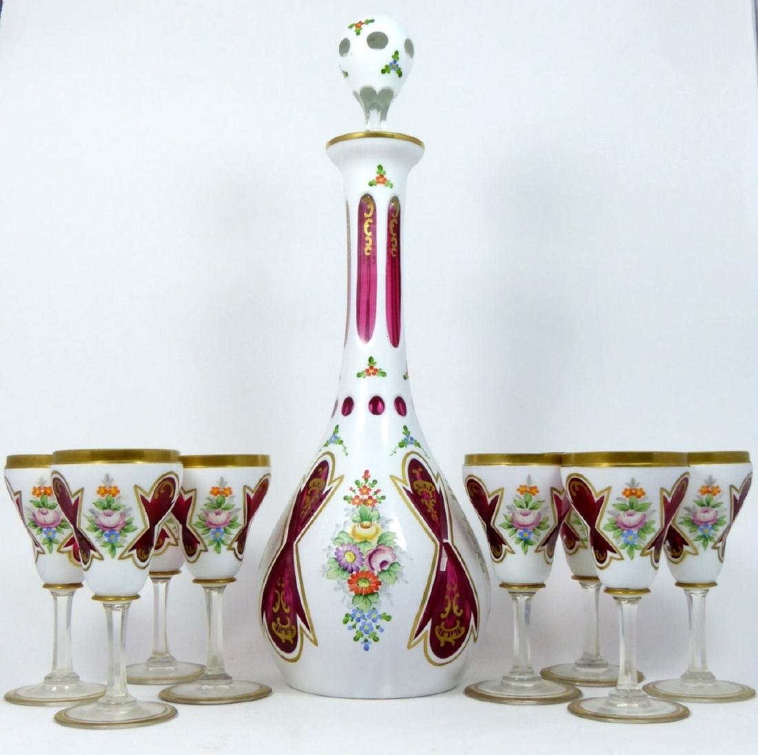 9pc BOHEMIAN WHITE CUT TO CRANBERRY CORDIAL SET