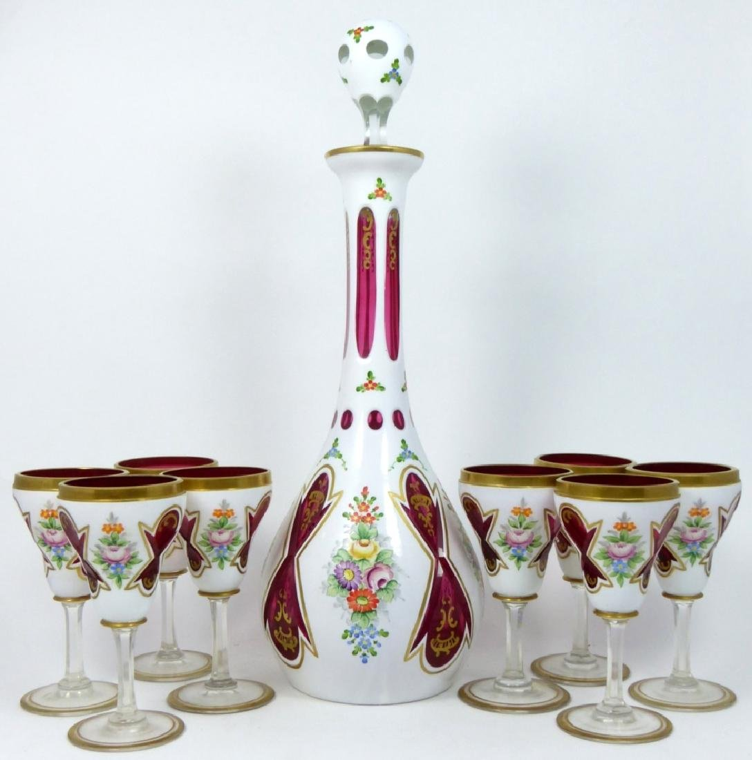 9pc BOHEMIAN WHITE CUT TO CRANBERRY CORDIAL SET - 7