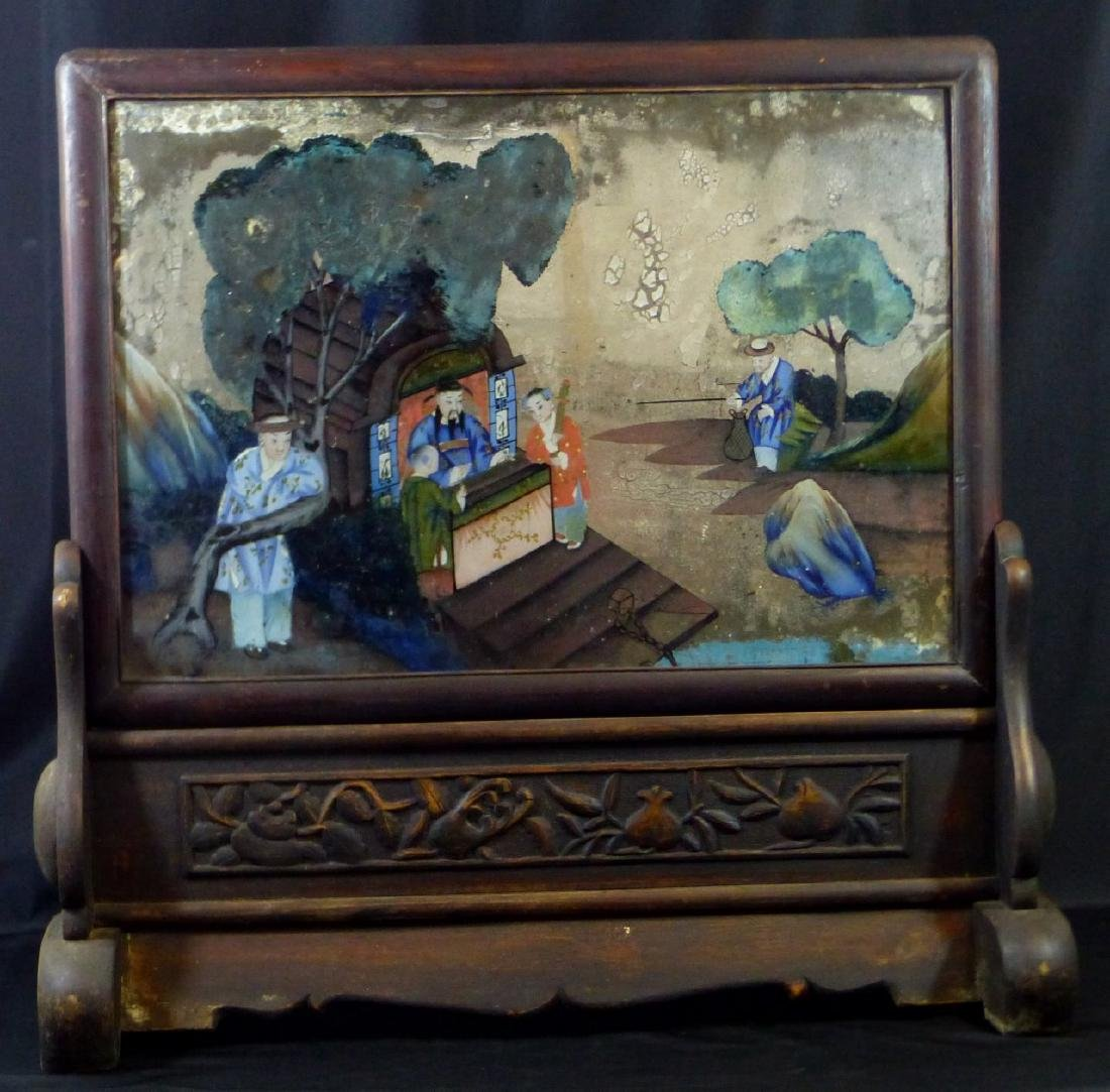 CHINESE REVERSE GLASS PAINTING w WOODEN STAND