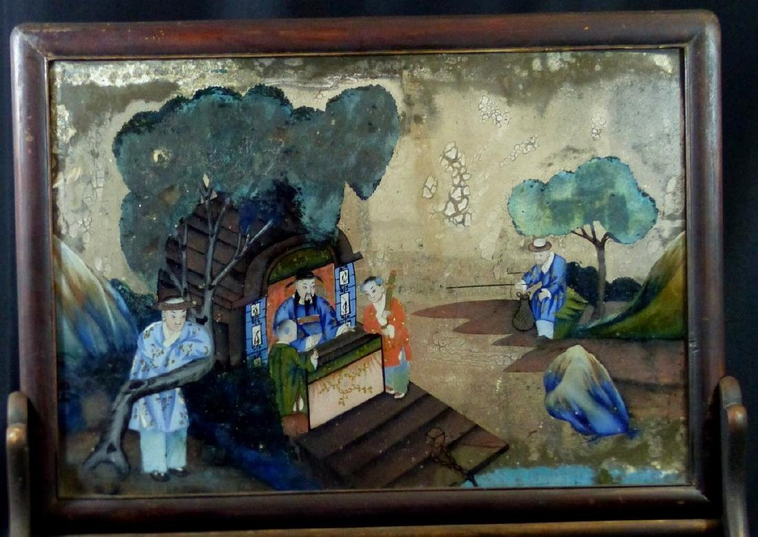 CHINESE REVERSE GLASS PAINTING w WOODEN STAND - 3