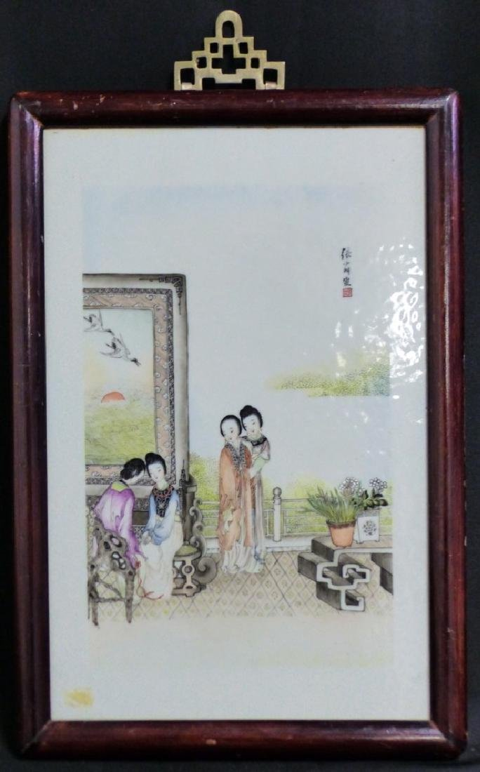 CHINESE PORCELAIN PLAQUE w MAIDENS