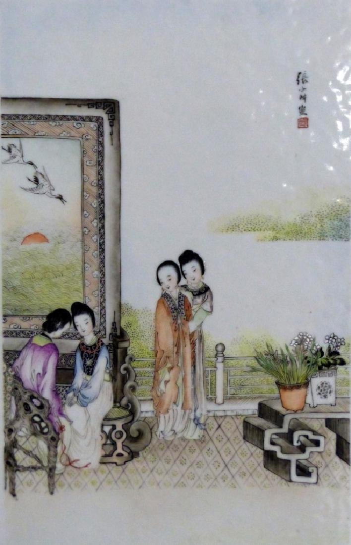 CHINESE PORCELAIN PLAQUE w MAIDENS - 2