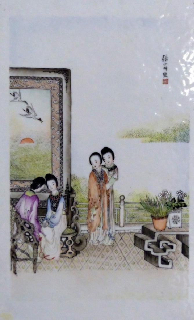 CHINESE PORCELAIN PLAQUE w MAIDENS - 3