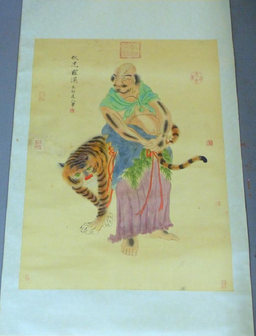 CHINESE SCROLL PAINTING IMMORTAL w TIGER - 10