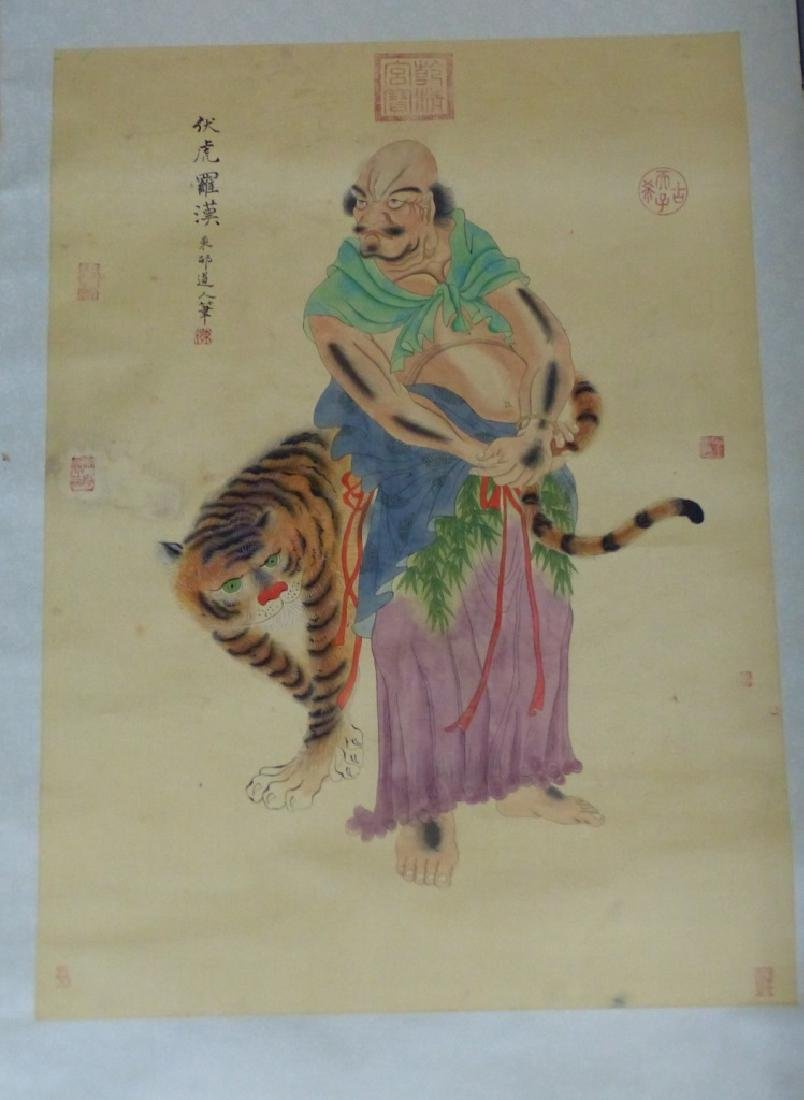 CHINESE SCROLL PAINTING IMMORTAL w TIGER - 2