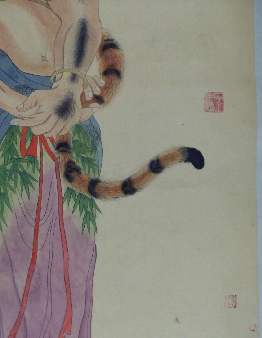 CHINESE SCROLL PAINTING IMMORTAL w TIGER - 8