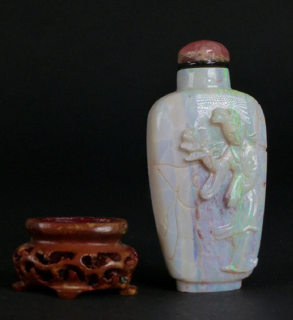 CHINESE CARVED FIRE OPAL SNUFF BOTTLE - 5