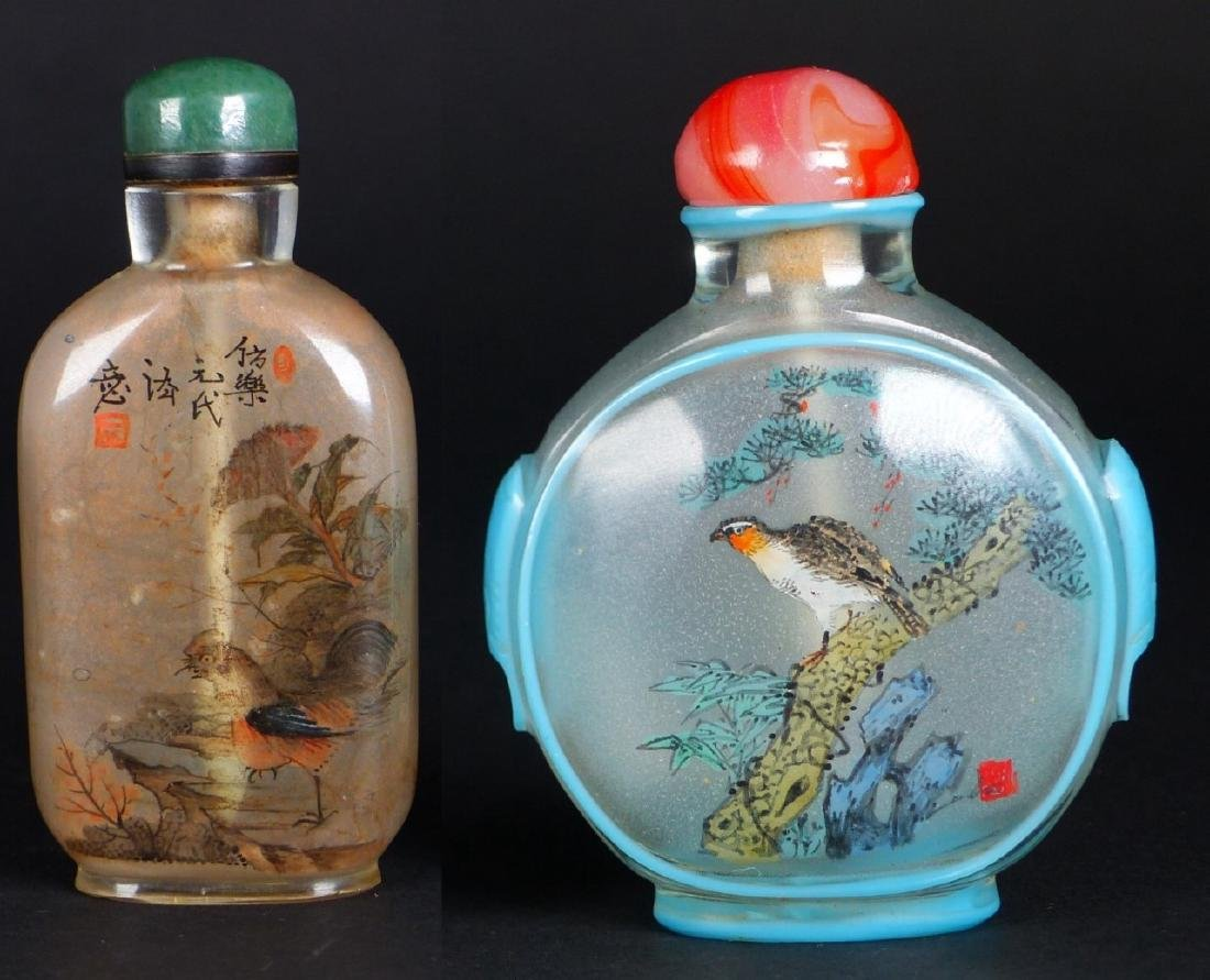 2pc CHINESE REVERSE PAINTED GLASS SNUFF BOTTLES