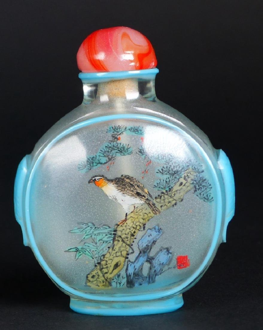 2pc CHINESE REVERSE PAINTED GLASS SNUFF BOTTLES - 3