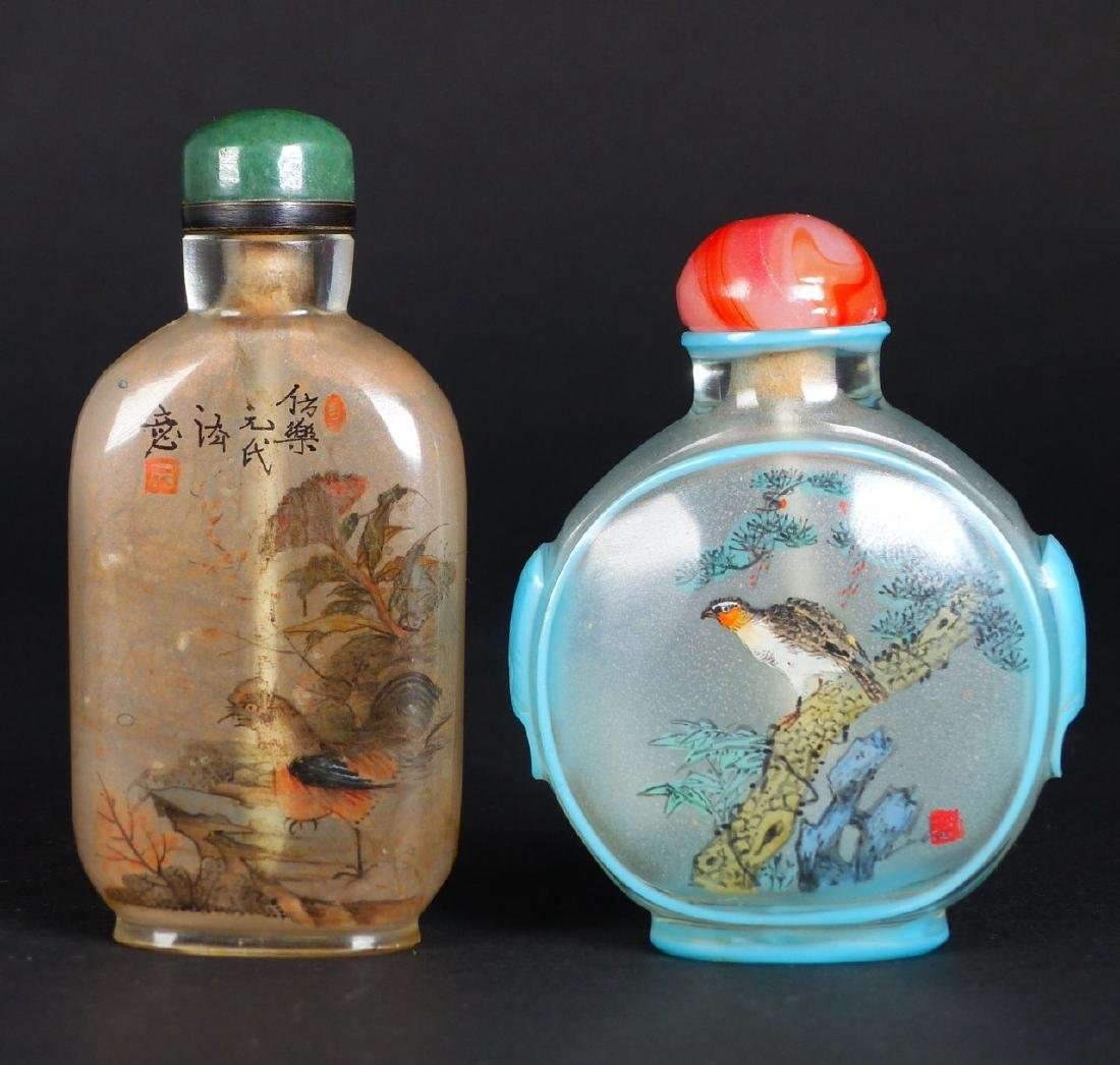 2pc CHINESE REVERSE PAINTED GLASS SNUFF BOTTLES - 4
