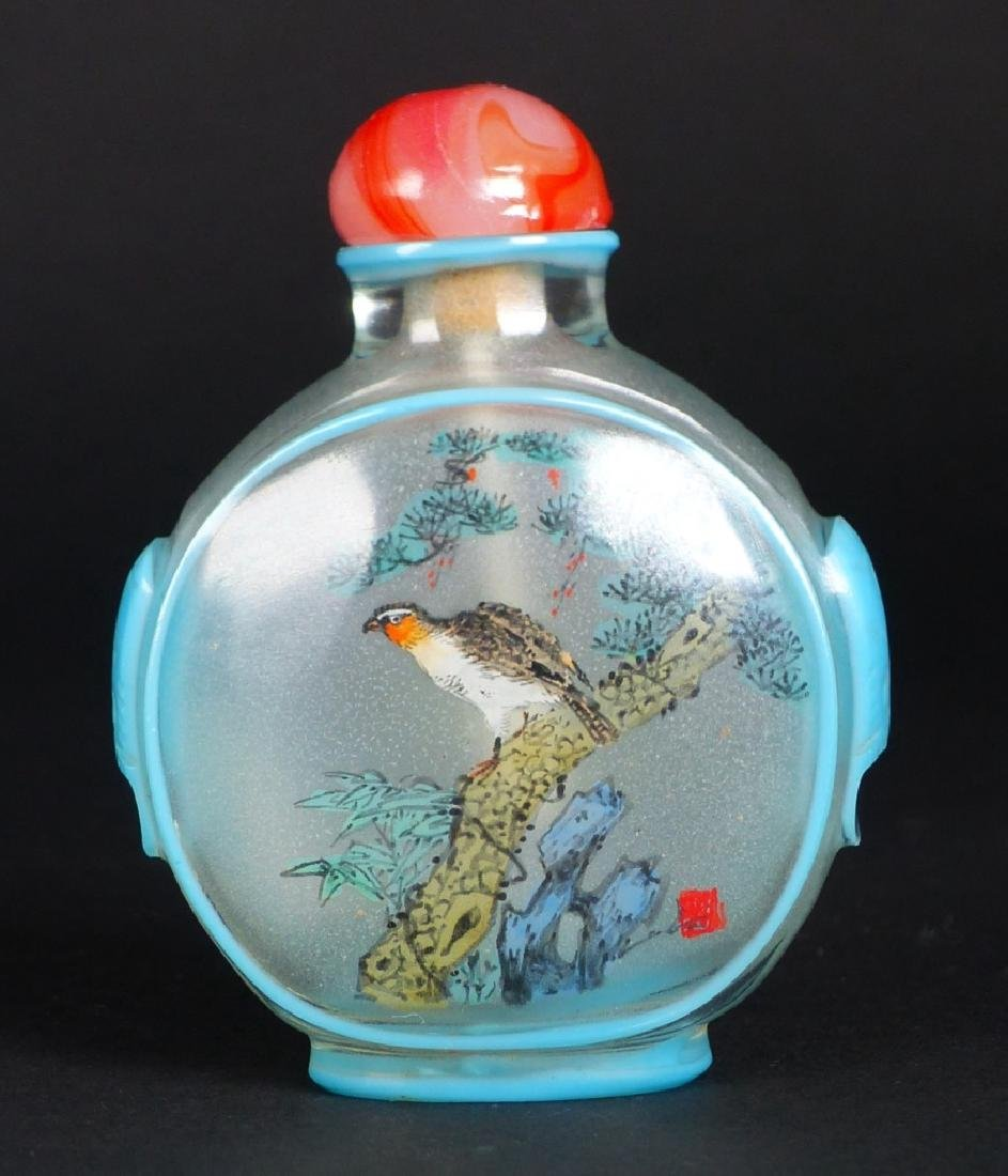 2pc CHINESE REVERSE PAINTED GLASS SNUFF BOTTLES - 5