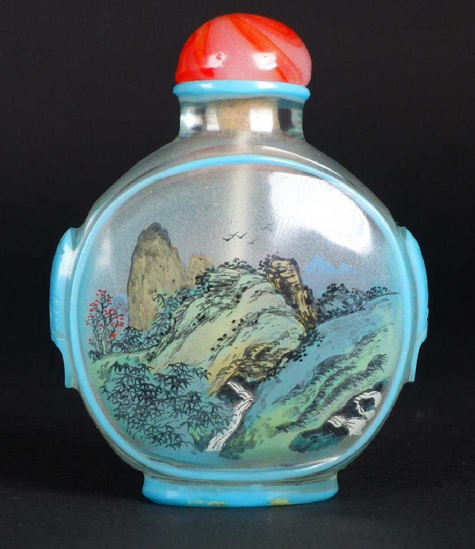 2pc CHINESE REVERSE PAINTED GLASS SNUFF BOTTLES - 6