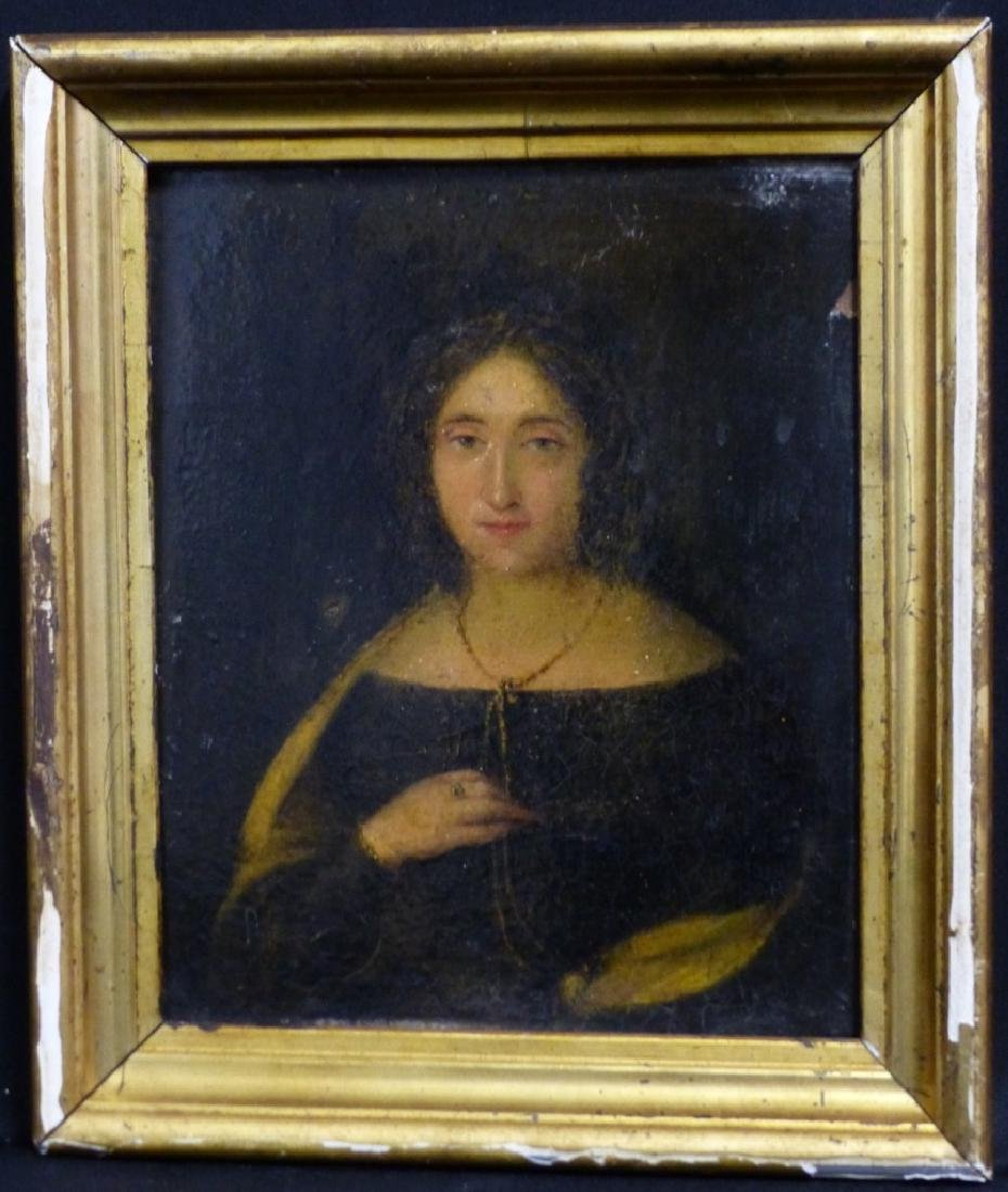 19th C OIL PAINTING ON BOARD OF YOUNG LADY