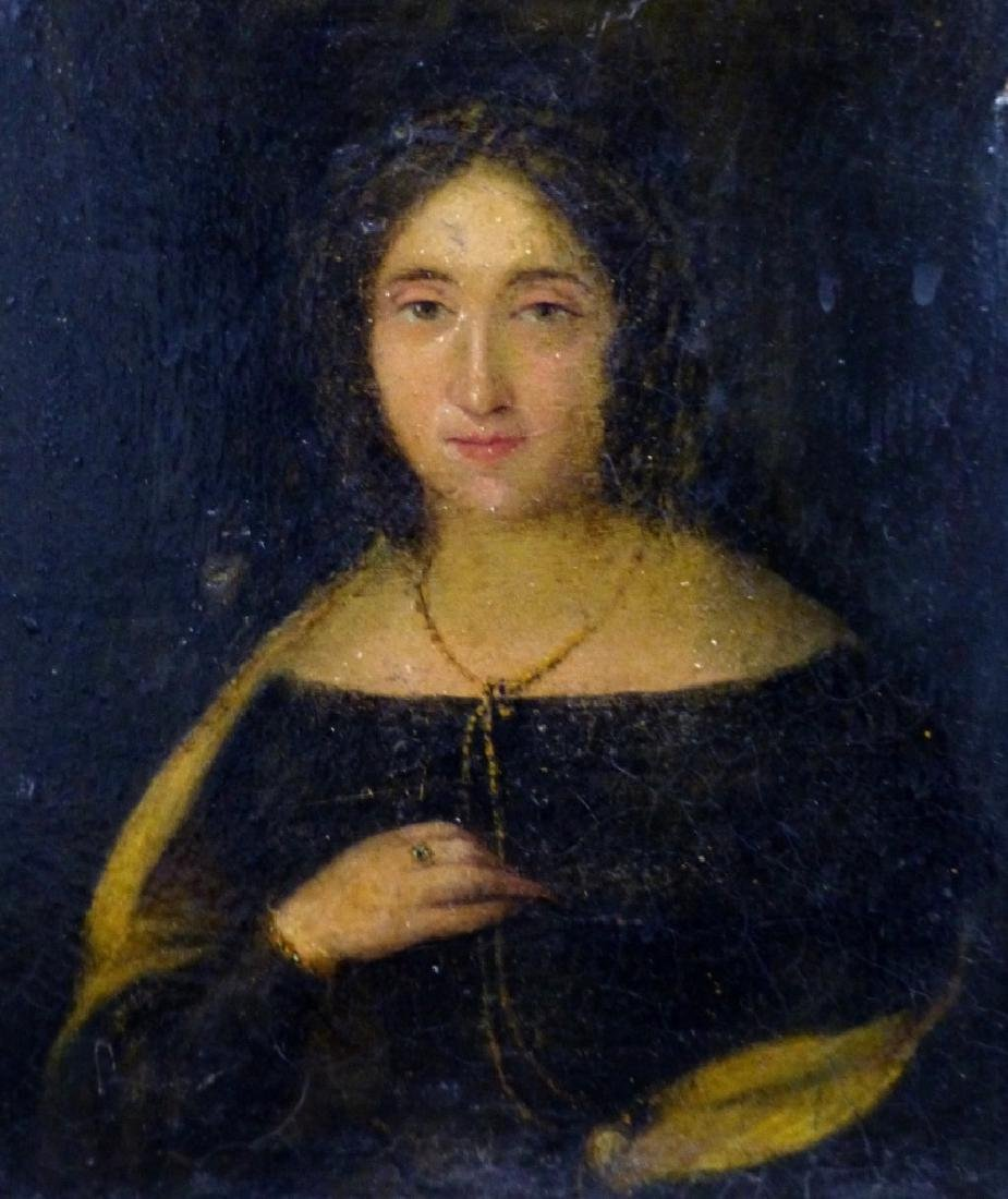 19th C OIL PAINTING ON BOARD OF YOUNG LADY - 2