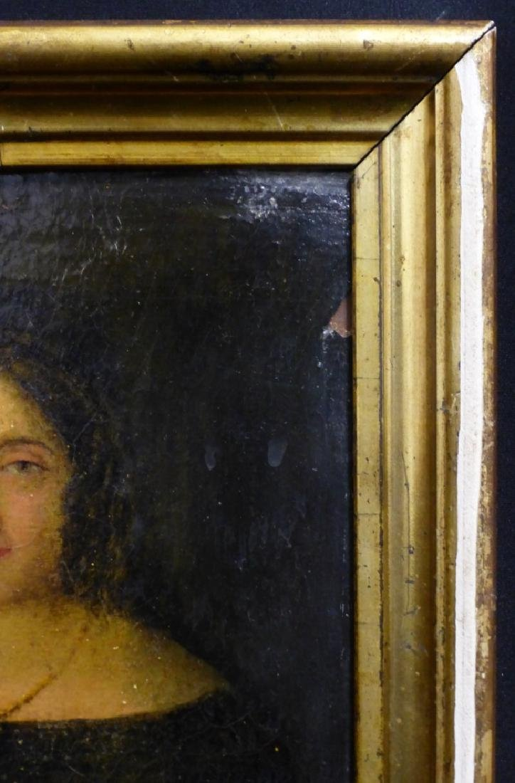 19th C OIL PAINTING ON BOARD OF YOUNG LADY - 3