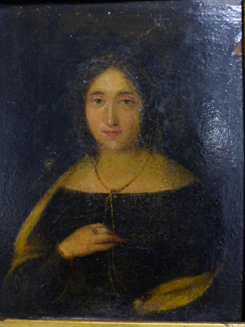 19th C OIL PAINTING ON BOARD OF YOUNG LADY - 4