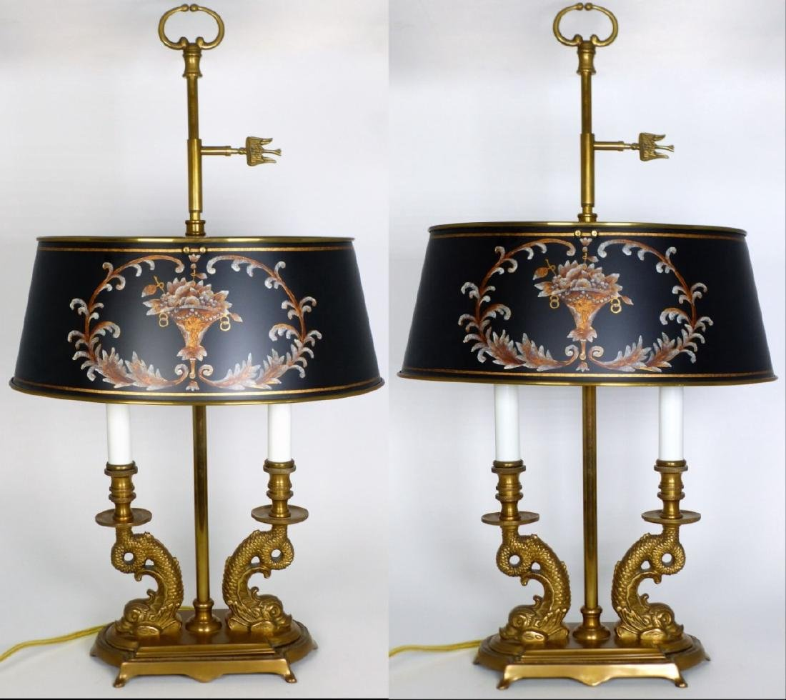 PR BRASS DOLPHIN FORM BOUILLOTTE TABLE LAMPS