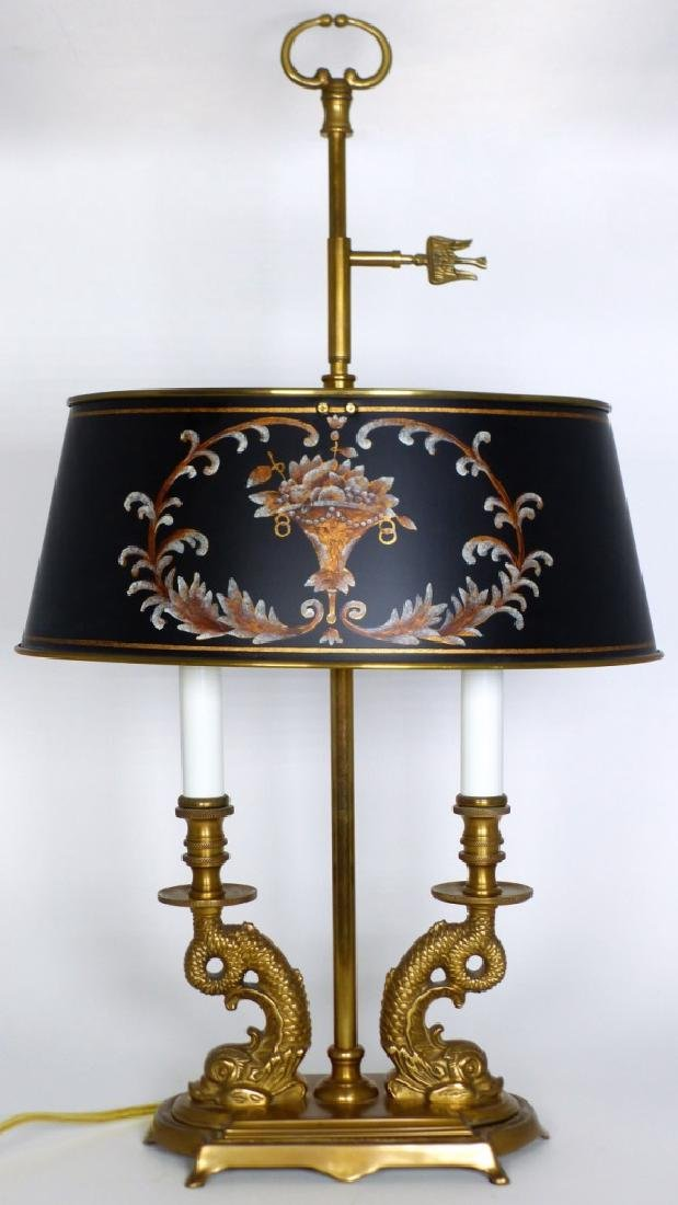 PR BRASS DOLPHIN FORM BOUILLOTTE TABLE LAMPS - 3
