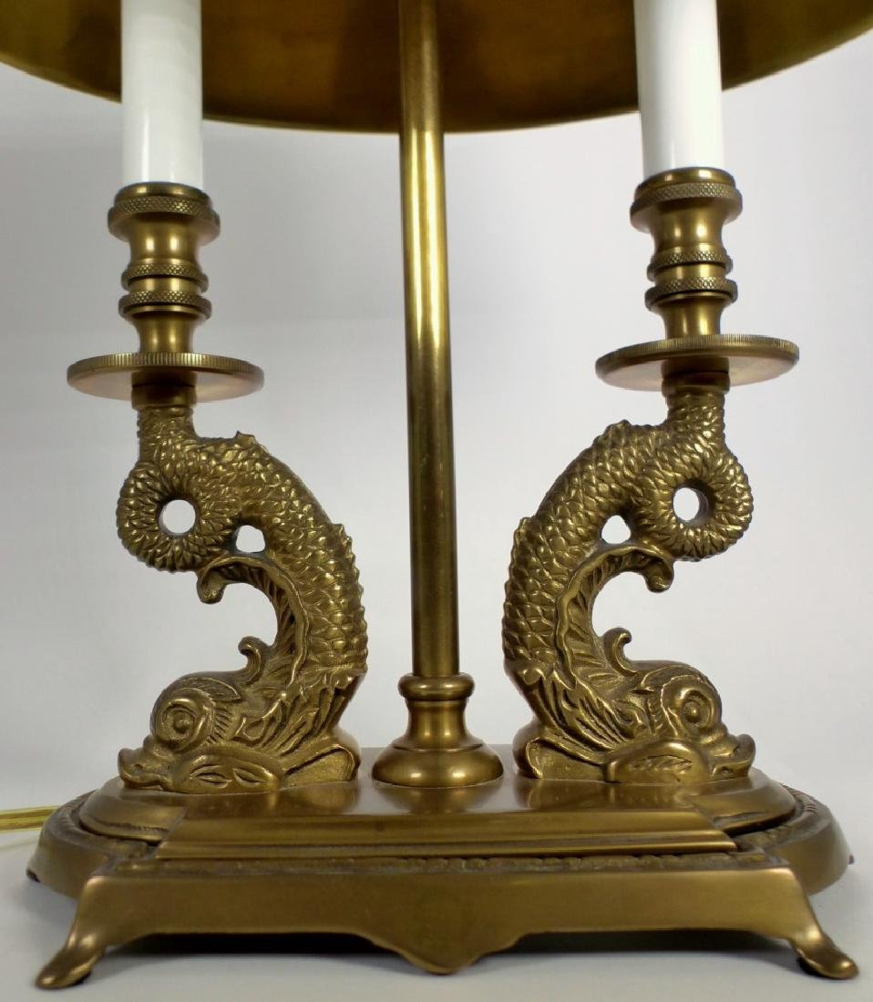 PR BRASS DOLPHIN FORM BOUILLOTTE TABLE LAMPS - 7