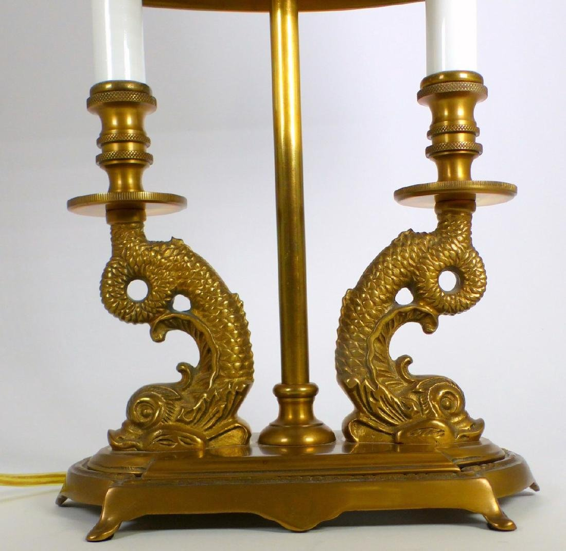 PR BRASS DOLPHIN FORM BOUILLOTTE TABLE LAMPS - 8