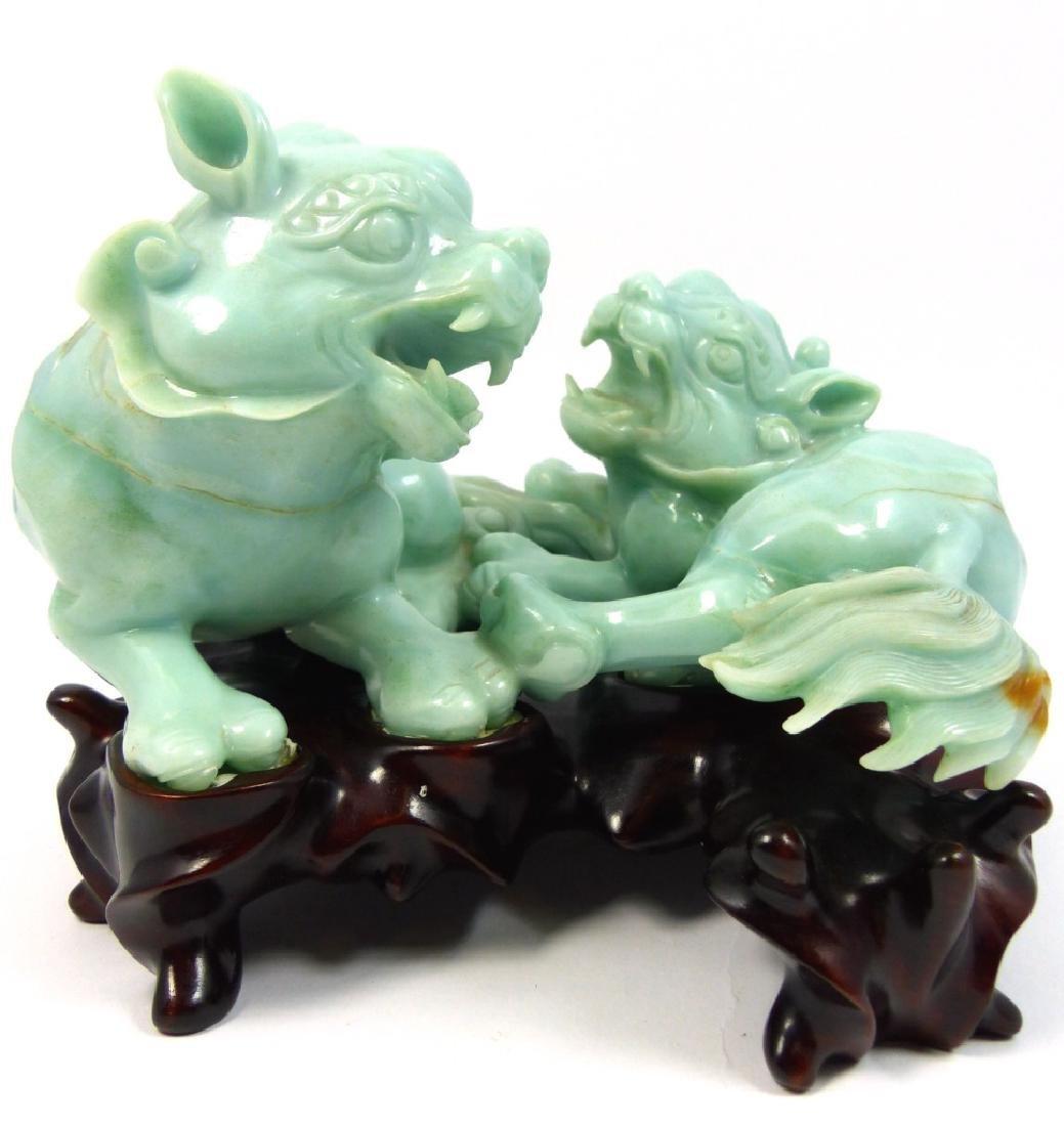 CHINESE CELADON JADEITE FOO LION CARVING - 2